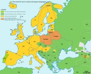 etymologická mapa Evropy_čaj