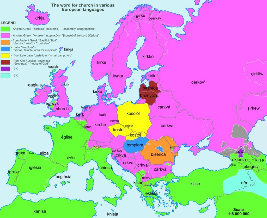 etymologická mapa Evropy_kostel