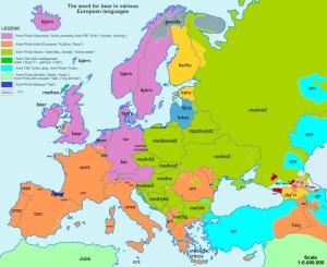 etymologická mapa Evropy_medvěd