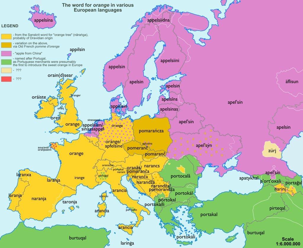 etymologická mapa Evropy_pomeranč